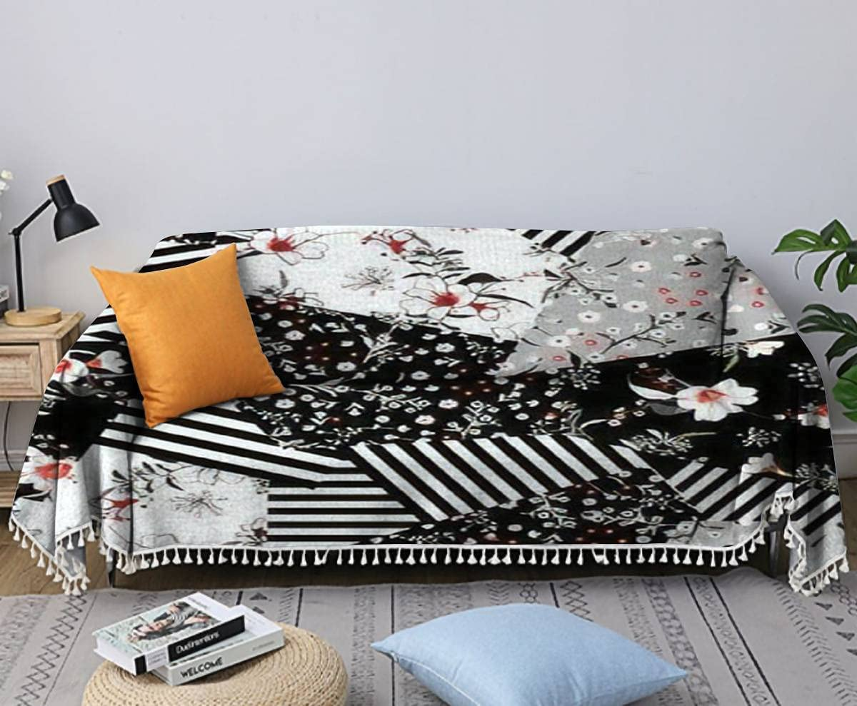 Sofa Towel Monotone Black and White Flo Blooming Kind OFFicial site Many New sales of in