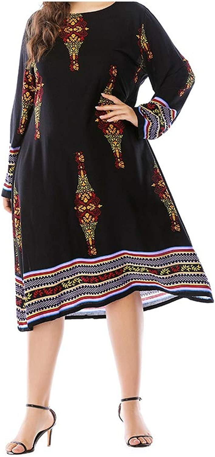 PerfectMood Dress Casual Printing ALine Summer Bohemia Dress Black Empire Line Long Sleeves ONeck Clothes 2082