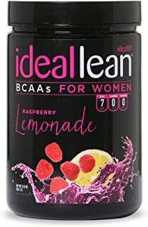 IdealLean BCAA For Women ‐ Amino Acids for Women | Maximize Fat Burn & Lean Muscle Growth | Aids Weight Loss | Post Workout Recovery Drink | 0 Calories, 0 Sugars, 0 Carbs | Raspberry Lemonade | 12 oz.
