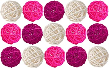 Worldoor 15PCS Wicker Rattan Ball Decorative Orbs Vase Fillers for Craft, Party, Valentine's Day, Wedding Table Decoratio...