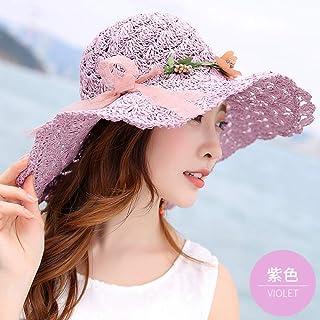 CGXBZA Flor de Verano Sombrero de Paja para Mujer Sombrero de Playa de ala Ancha Grande Sombrero para el Sol Protector Solar Plegable protección UV Sombrero de Panamá