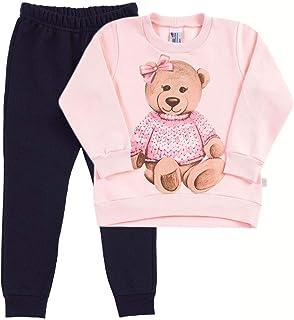 Conjunto Rosa Bebê Primeiros Passos Menina Moletom 38621-719