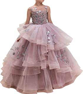 Floor Length Ball Gown Pageant Big Girl Flower Embroidery Princess Luxury Puffy Tulle Dress Flower Girls Prom Party