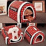 LEIW Detachable Hundebett mit Dach,Ultra Weich warme,Hundebett Hundehütte Mit Kissen,rutschfeste...