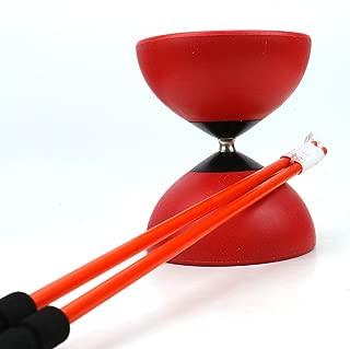 AQUEENLY Red Diabolo, 4.72'' High-Performance Pro Chinese Yoyo Diabolo with 17.71'' Diabolo Sticks