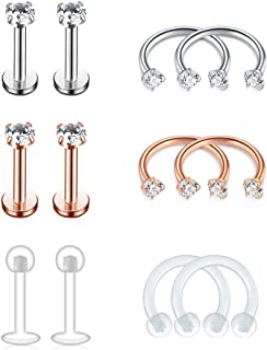 FECTAS Cartilage Earring Stud Forward-Helix Earrings-Internal Threaded Labret Lip Medusa Monroe Piercing Ring 16G