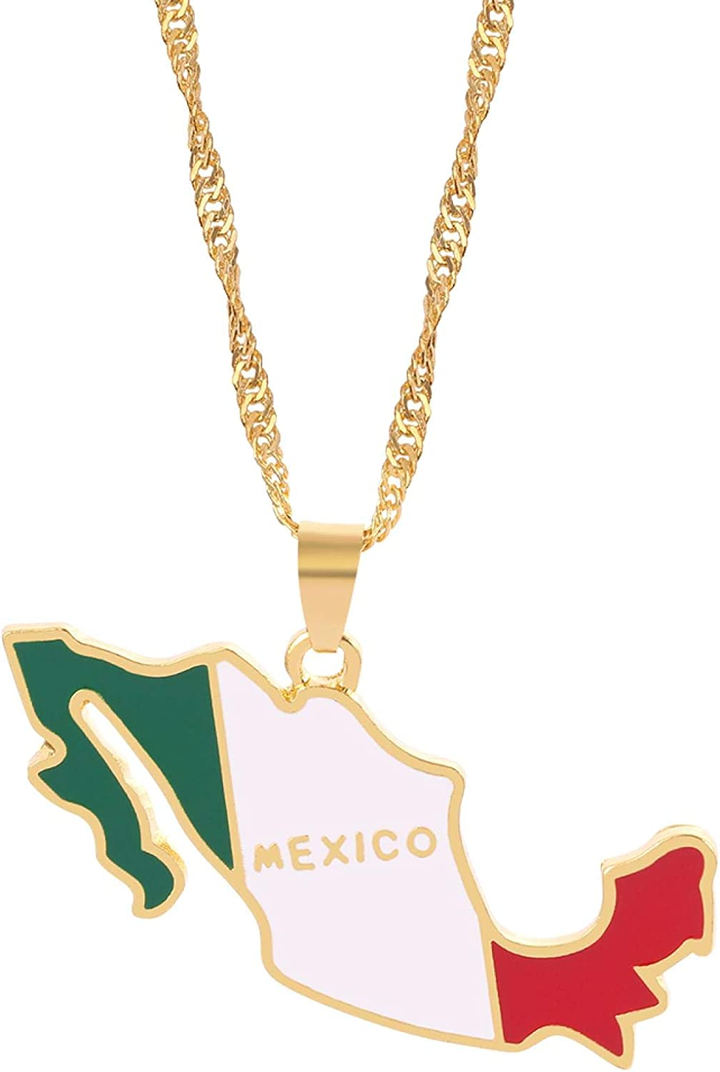 Mexico Flag Map Necklace Women Collar Nation Necklace Trend Charm Romantic Jewelry Party Temperament Jewelry Gifts