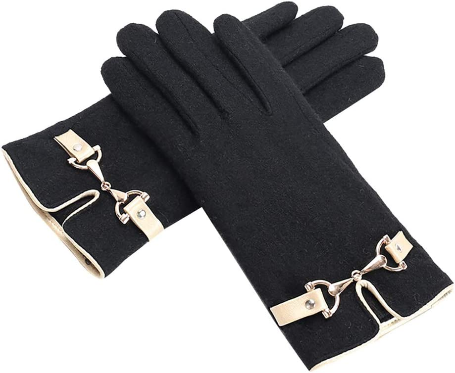N / A Winter Cold Proof Thermal Gloves, Winter Wool Gloves, Anti-Slip Knit Touchscreen Cuff Warm Unisex Driving Gloves with Thick Fleece Lining (Black)