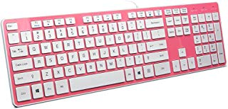 BFRIENDit Wired USB Keyboard , Comfortable Quiet Chocolate Keys , Durable Ultra-Slim Wired Computer Keyboard For PC , Windows 10 / 8 / 7 / Vista , KB1430 - Pink