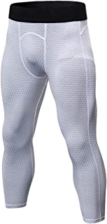 comprar comparacion LaoZanA Pantalones Comprensión para Hombre Mallas 3/4 Deportivos Baselayer Secado Rápido
