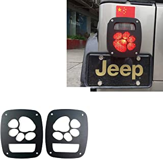 Bestmotoring Car Taillight Decorative Cover,Aluminum Alloy Taillight Cover Trims 2pcs for Jeep Wrangler TJ 1997-2006-Black-paw Print