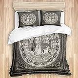 OPNGVD1 - Juego de funda de edredón (260 x 220 cm, 2 fundas de almohada de 50 x 80 cm), diseño de porcelana esmaltada