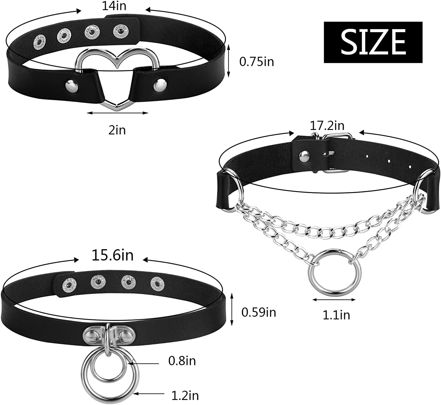 Hazms 15pcs PU Leather Choker Necklace Goth Chokers for Women Adjustable Black Punk Choker Set Gift for Women Girls Cosplay Accessories