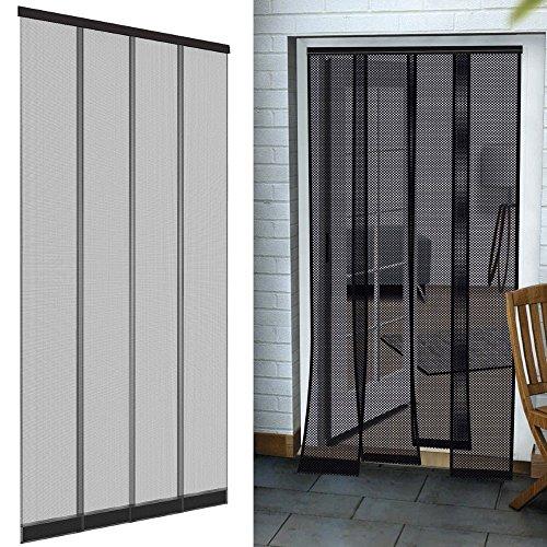 Insektenschutz Tür Vorhang Premium 100 x 220 cm in anthrazit Fliegengitter aus Fiberglas Lamellen mit eingenähten Gewichten und selbstklebenden PVC Klemmleiste Fliegenvorhang