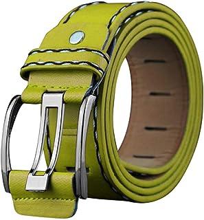 Cimaybeauty Fashion Mens Leather Smooth Girdle Buckle Waistband Waistband Leisure Belt Strap