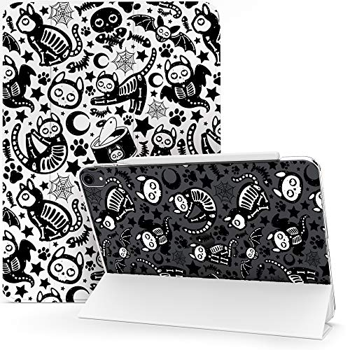 Lex Altern Case Compatible with iPad Pro 12.9 2020 11 Air 3 2 10.8 8th Gen 2019 2018 10.5 inch Mini 5 4 9.7 Cat Bats Halloween Cute Spooky Skeleton Black Magnetic Protective Flip Lightweight mch082