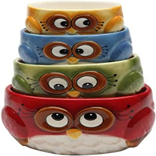 Cosmos gifts Measuring Cup Set Owl Design red Green Blue Yellow 4 Pack