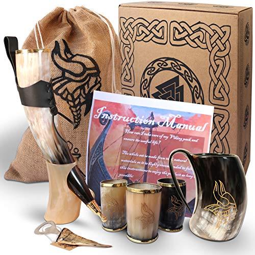 Excellence Labs Auténtico Cuerno Vikingo para Beber Cerveza con Soporte y Jarra de Cerveza Vikinga (0,5 litros). Tres Vasos de Cerveza Personalizados 180 mL, Abrebotellas. Set 100% Medieval.