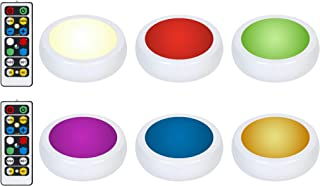 Brilliant Evolution Wireless Color Changing LED Puck Light 6 Pack With 2 Remote Controls | LED Under Cabinet Lighting | Cl...