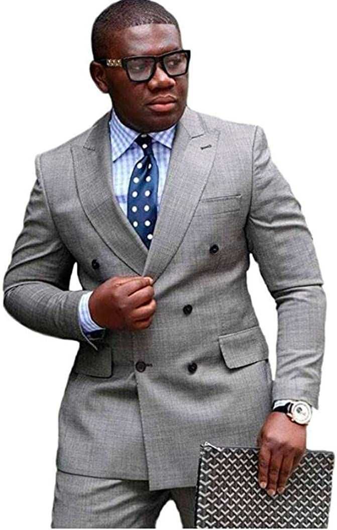Botong Men's Grey Double Breasted Wedding Suits 2 PC Regular Fit Notch Lapel Men Suits Prom Suits Groom Tuxedos