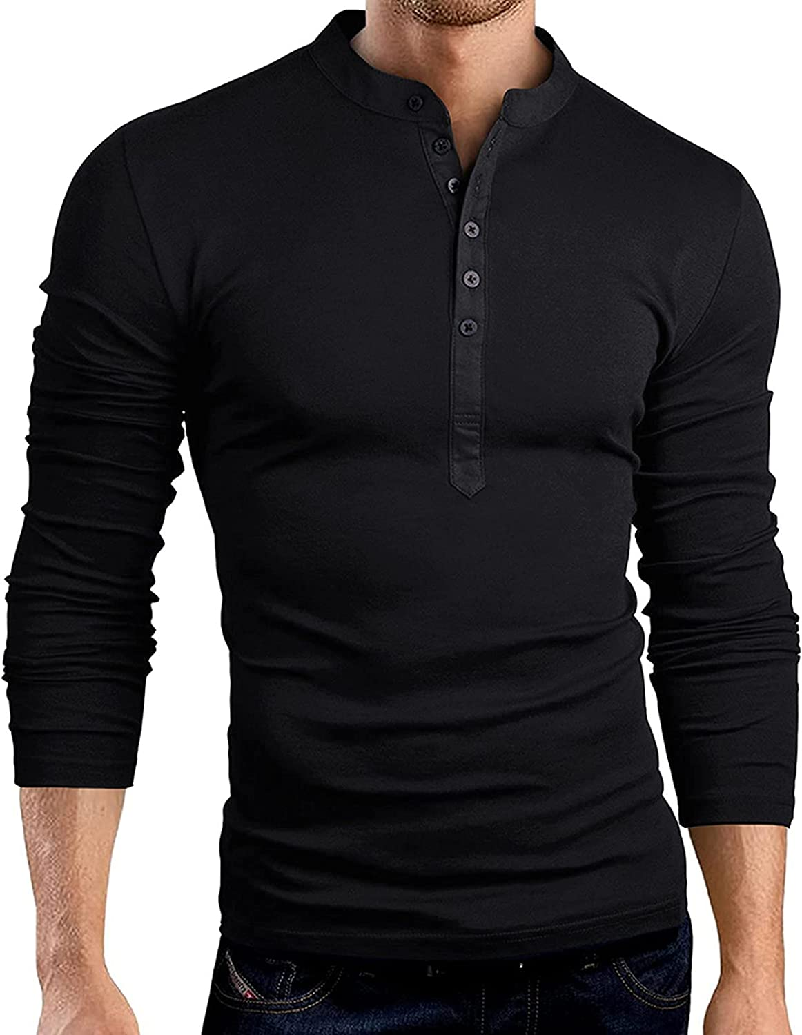 FUNEY Mens Casual Slim Fit Basic Henley Shirt Long Sleeve Fashion T-Shirt Cotton Muscle Fitted Athletic V Neck Shirts Tops