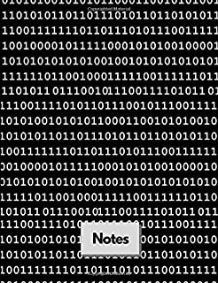 """Notes: Binary Numbers Black Computer Coding & Programming Themed Composition Notebook – 1s & 0s - College Ruled - 7.44"""" x 9.69"""" - 100 Pages (50 Sheets) - Perfect for Taking Notes"""