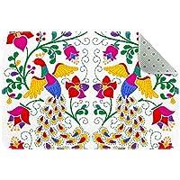 エリアラグ軽量 メキシコの孔雀と花 フロアマットソフトカーペットチホームリビングダイニングルームベッドルーム