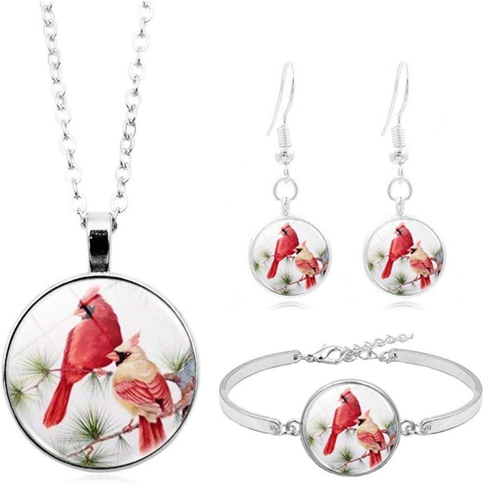 MYXP Vintage Cardinal Bird Pendant Necklace Bracelet Earring Set Charm Jewelry for Women Teen Girls