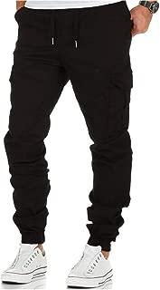 Mens Casual Pants Sport Slim Fit Trousers Drawstring Elasticated Waist