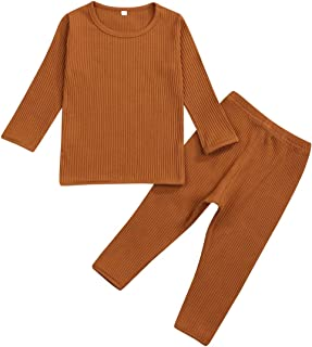 Baby Boys Girls Cotton Fall Winter Clothes Top and Pants 2PC Pajama Set Solid Color Outfit 0-24 Months