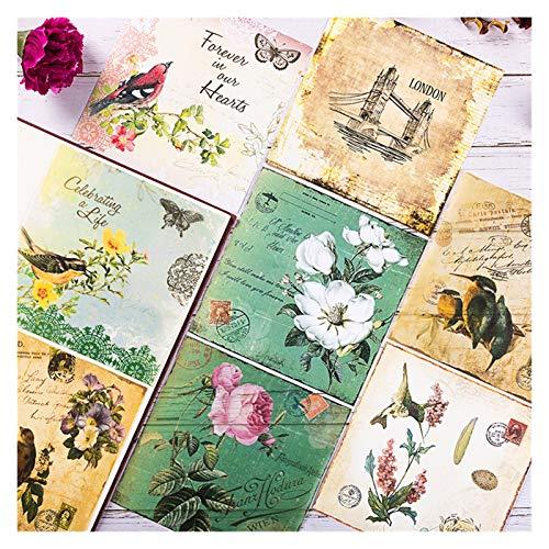 LUCHAO Pegatinas 8pcs / Set Vintage Bird Letras Butterfly Vellow Paper Pack para Scrapbooking Feliz planificador de Tarjetas Haciendo Proyecto DE REVISTAL DESPUÉS (Color : G)