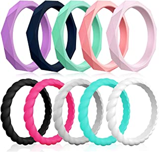 Silicone Wedding Rings for Women, 10-Pack Thin Rubber Wedding Bands Stackable Braided Ring, Affordable, Fashion, Colorful, Comfortable fit, Skin Safe