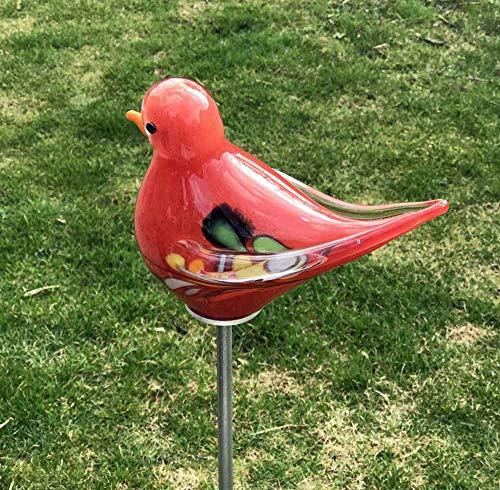 Vogel - Spatz mit Flügel auf Stab rot Glas H 132 cm Gartenstecker Handarbeit Gartenstele Gartenkugel