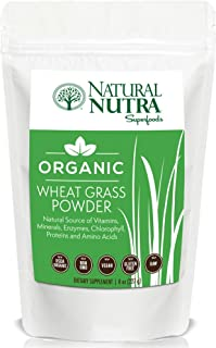 Organic Wheat Grass Powder by Natural Nutra – 8oz, 75 Servings – Superfood Dietary Supplement: Chlorophyll, Antioxidants, Vitamins A & B, Amino Acids – USDA Organic, Non GMO, Vegan, Gluten Free, Raw