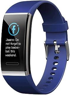Qianghua Pulsera Inteligente, monitorización de la frecuencia cardíaca y la presión Arterial Reloj Inteligente con Pulsera de Actividad Bluetooth, una Monitores de Actividad,Azul
