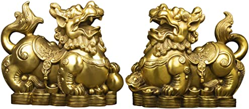 Handmade Brass Pi Yao/Pi Xiu for Wealth Figurine Collectible Home Decor Set of 2