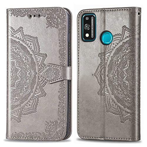 Bear Village Hülle für Huawei Honor 9X Lite, PU Lederhülle Handyhülle für Huawei Honor 9X Lite, Brieftasche Kratzfestes Magnet Handytasche mit Kartenfach, Grau