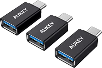 AUKEY USB C Adapter, [3 Pack] USB C to USB 3.0 Adapter Compatible with MacBook Pro 2017/2016 , Google Chromebook Pixelbook , Samsung Galaxy S9 S8 S8+ Note8, Google Pixel 2/2XL - Black