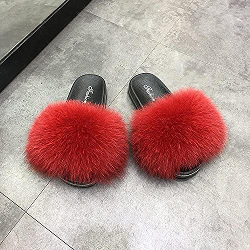Kirin-1 fluffy mules fuzzy slippers-41_Red d