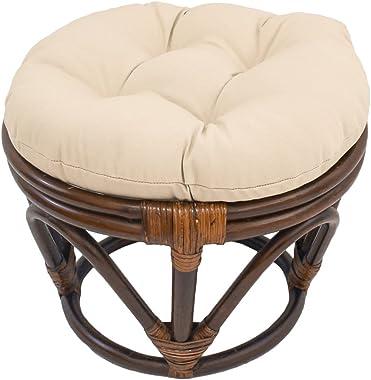 International Caravan Furniture Piece Rattan Footstool with Twill Cushion