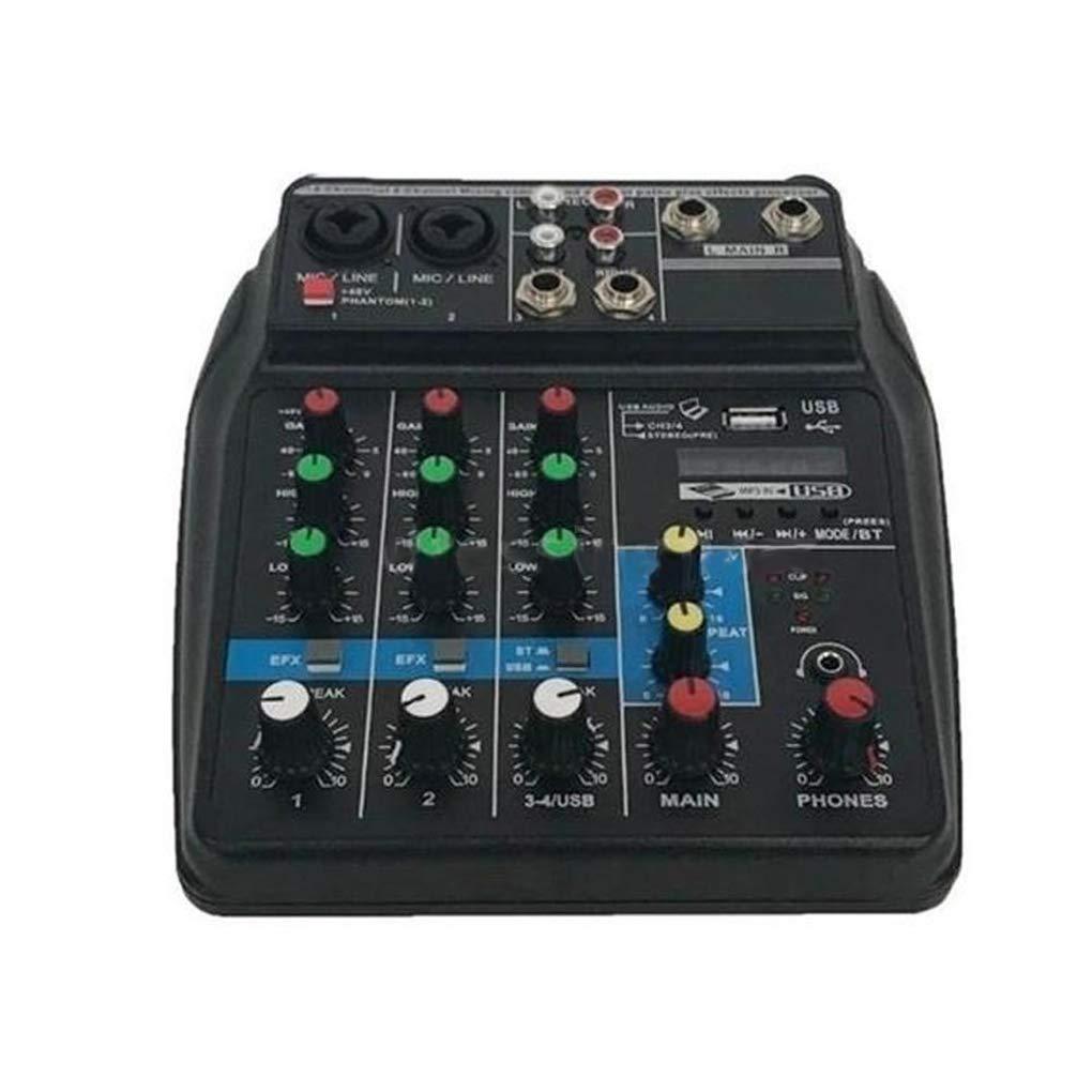 Flushzing Puerto USB profesión de Mezcla Consola Powered Bluetooth Mini 4 Canales Fase de ejecución de la acción Viva Audio Mixer: Amazon.es: Hogar