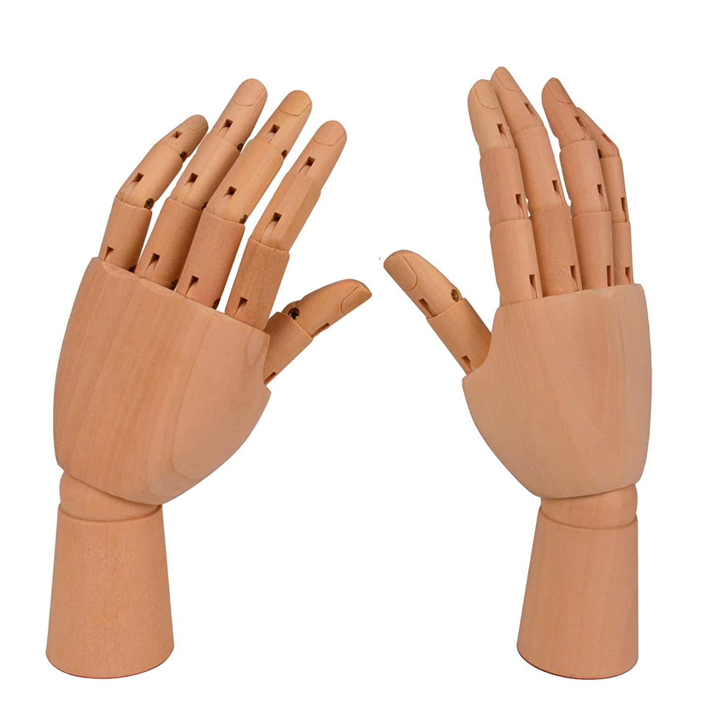 Bleiou Wooden Art Mannequin Hand 7 Inch Art Sectioned Left and Right Hand Model for Drawing, Sketch, Painting