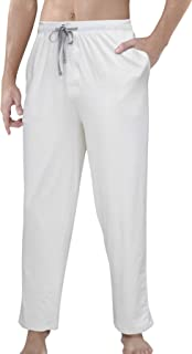 YAOMEI Men's Pyjamas Bottoms Long, Cotton Drawstring Lounge Pants Plain Nightwear Underwear Casual Trousers Elastic Waistb...