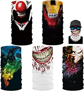 5 Pack 3D Pattern Sun UV Dust Protection Windproof Bandana Balaclava Headwear Neck Gaiter Cover Magic Scarf for Outsport