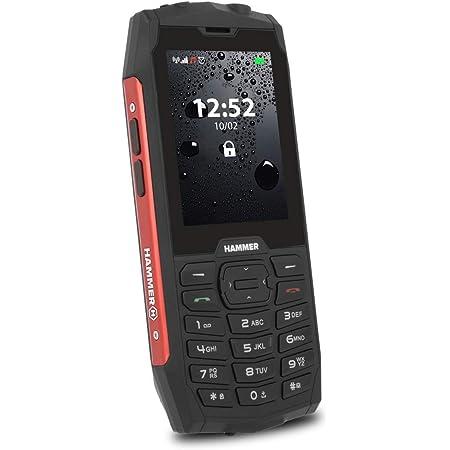 """Hammer 4, Robusto, Mega batería de 2000 mAh, 2.8"""", Resistente al Agua (IP68), a Prueba de Golpes, Linterna, Dual-SIM, Bluetooth, teléfono Celular con Botones - Rojo"""