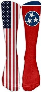Hunter qiang, Calcetines altos para mujer, diseño de la bandera de Estados Unidos Tennessee State America, 50 cm