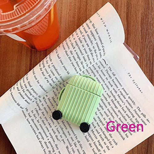Nett Lightness Airpods Case, Cute Suitcase Airpods Case Cover, Silicone Airpods Protective Cover for Airpods1/2 gift (Color : Green, Size : Airpods1/2)