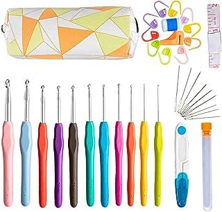 Niviy Ensemble de 11pcs Extra Longues Aiguilles à Tricoter Crochets en Aluminium Tricot Outils Multicolore et 11 Taille, S...