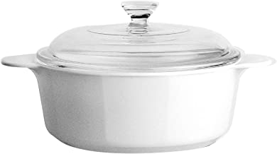 CORNINGWARE 3430 Stovetop Pyroceram Round Covered Casserole, Glass Lid, Just White, 800ml