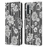 Head Case Designs Licenciado Oficialmente Ninola Stripes BW Floral Patterns Carcasa de Cuero Tipo Libro Compatible con Huawei P30 Pro